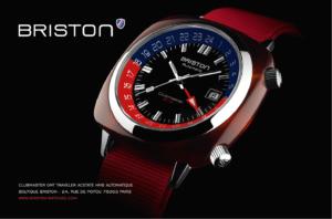 Publicité Briston Clubmaster GMT Traveler Acétate rouge 2019
