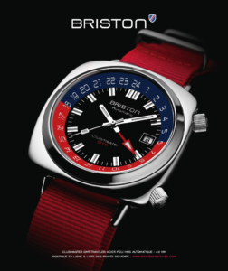 Publicité Briston Clubmaster GMT Traveler Acier rouge 2019