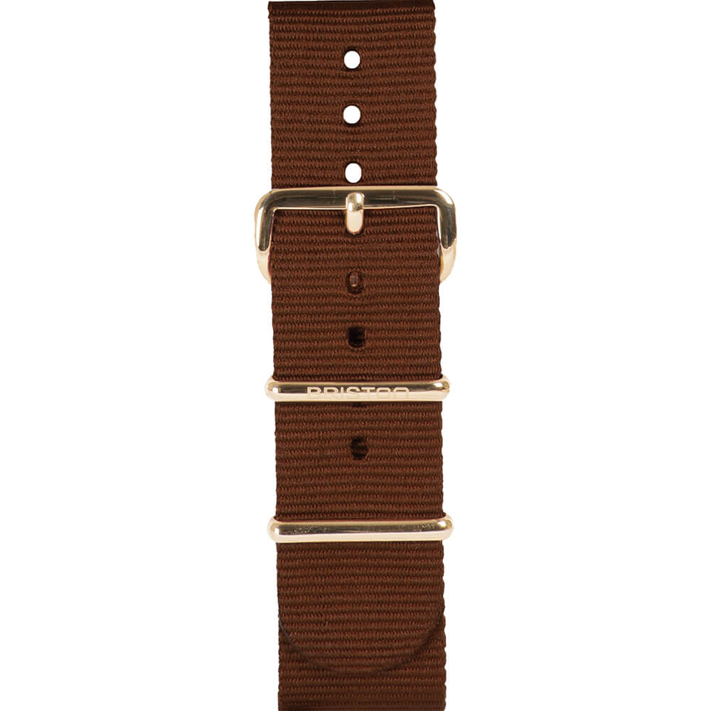 Bracelet NATO chocolat Briston 20 mm - NS20.PVDYG.TCH